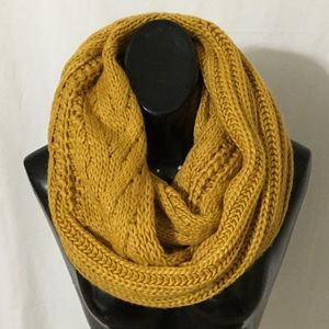 BP cable knit mustard infinity scarf